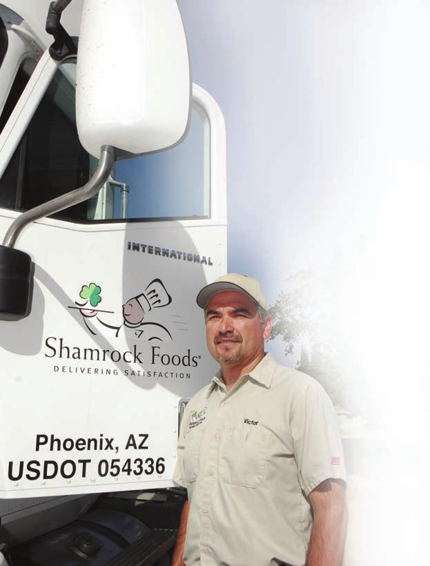 Victor Holguin Shamrock Foods TWRITTEN AND PHOTOGRAPHED BY JOE BURGESS The only thing I deliver to one of the area elementary schools, says Shamrock Foods driver Victor Holguin, is five 5-gallon