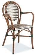 PARIS 8 AC3508N04RAT Dining Armchair, Stackable Wicker: Ivory & Green