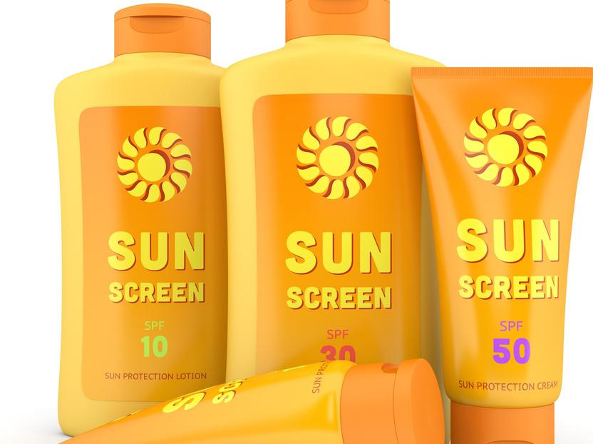 The particles in sunscreens provide physical protection against UV rays by blocking or reflecting sunlight.