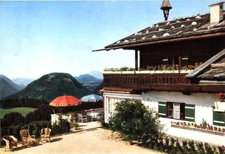 Hitler s Mountain Home A visit to Haus Wachenfeld in the Bavarian Alps, written and illustrated by Ignatius Phayre A closer view of the house, showing the umbrella-shaded terrace.