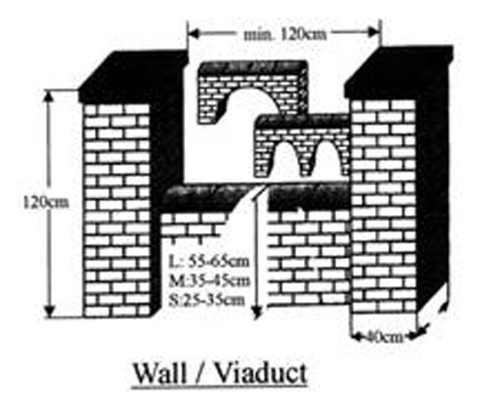 Jump Height Length in Inches Number of 6 Sections Number of 8 Sections 4 6-8 1 1 8 16 2 2 12 24 3 3 16 32 4 3 20 40 5 4 24 48 5 4 Wall Jump/Viaduct: Height: L: 21.6 (55cm) to 25.6 (65cm) M: 13.