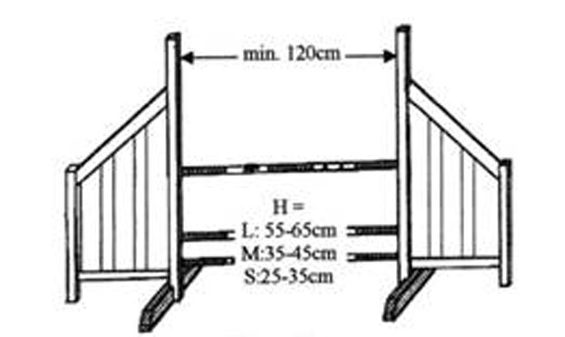 The highest pole is placed at the back: L: 21.6 (55cm) to 25.6 (65cm). M: 13.8 (35cm) to 17.7 (45cm). - S: 9.84 (25cm) to 13.8 (35cm) The total depth must not exceed: L: 21.6 (55cm) - M: 15.