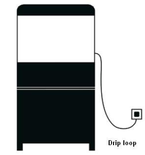 Create a drip loop (see diagram) for each cord connecting the aquarium or aquarium appliance to an outlet. The drip loop is the part of the cord below the level of the outlet or the plug.