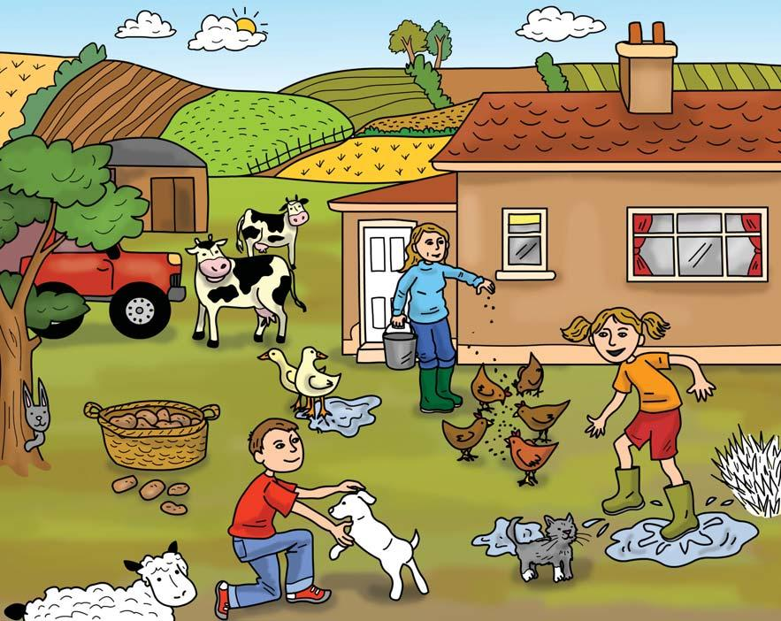 C What s on the farm? a cloud a field a truck a chicken a rabbit a duck a kitten D A day on the farm. On Saturday afternoons, and his sister,, go to help Mrs Plant on her farm.