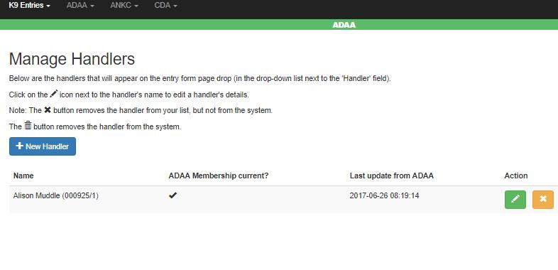 Manage Handlers For ADAA users, you will see a page similar to the one shown below: These details are transferred from ADAA on a daily basis, and will indicate whether or not your membership