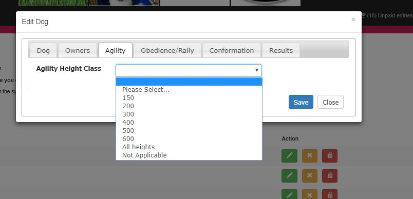 click on the Agility tab, and select the height class applicable: Click Save.