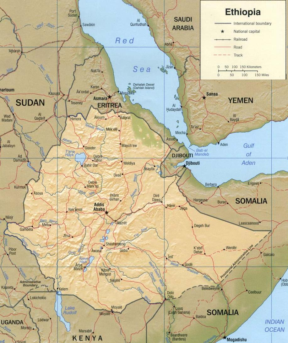 Background Physico-geographical and climatic features of Ethiopia Ethiopia is located in east Africa, bordering Eritrea in the north, Djibouti and Somalia in the east, Kenya in the south and Sudan in