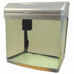A modern bow fronted glass aquarium. It comes complete with trickle system filteration and an intergrated powerhead sending flow through both the filter and around the aquarium itself.