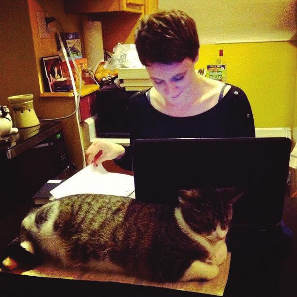 Photo credit: Amy Lind In this next photo, a graduate student works at her laptop with her friend s cat,