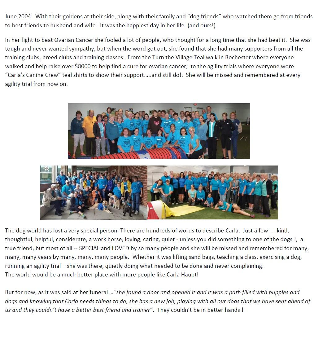 MICHIGOLDEN NEWSLETTER Page 9 In Memory of Carla,