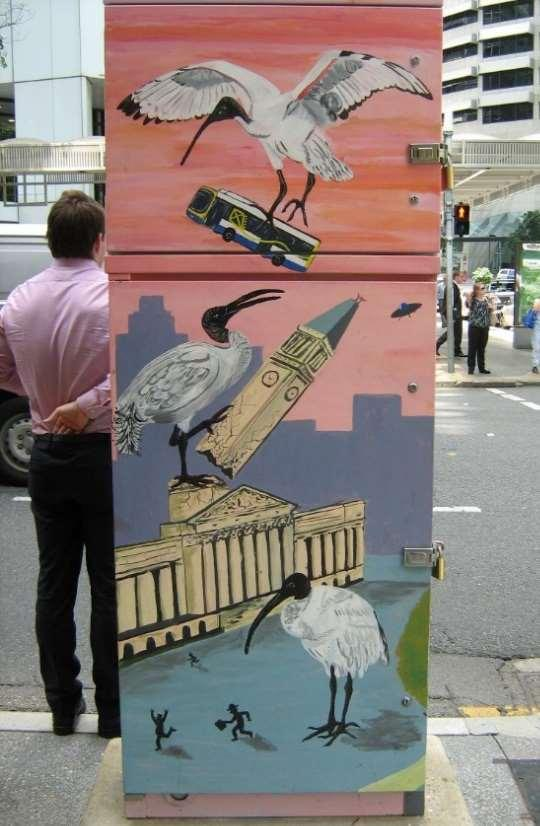 Figure 32 Depictions of bawdy ibis on traffic signal boxes in Brisbane s central business district