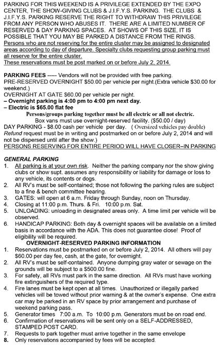 PARKING INFORMATION These reservations must be post marked on or before July 1, 2015.