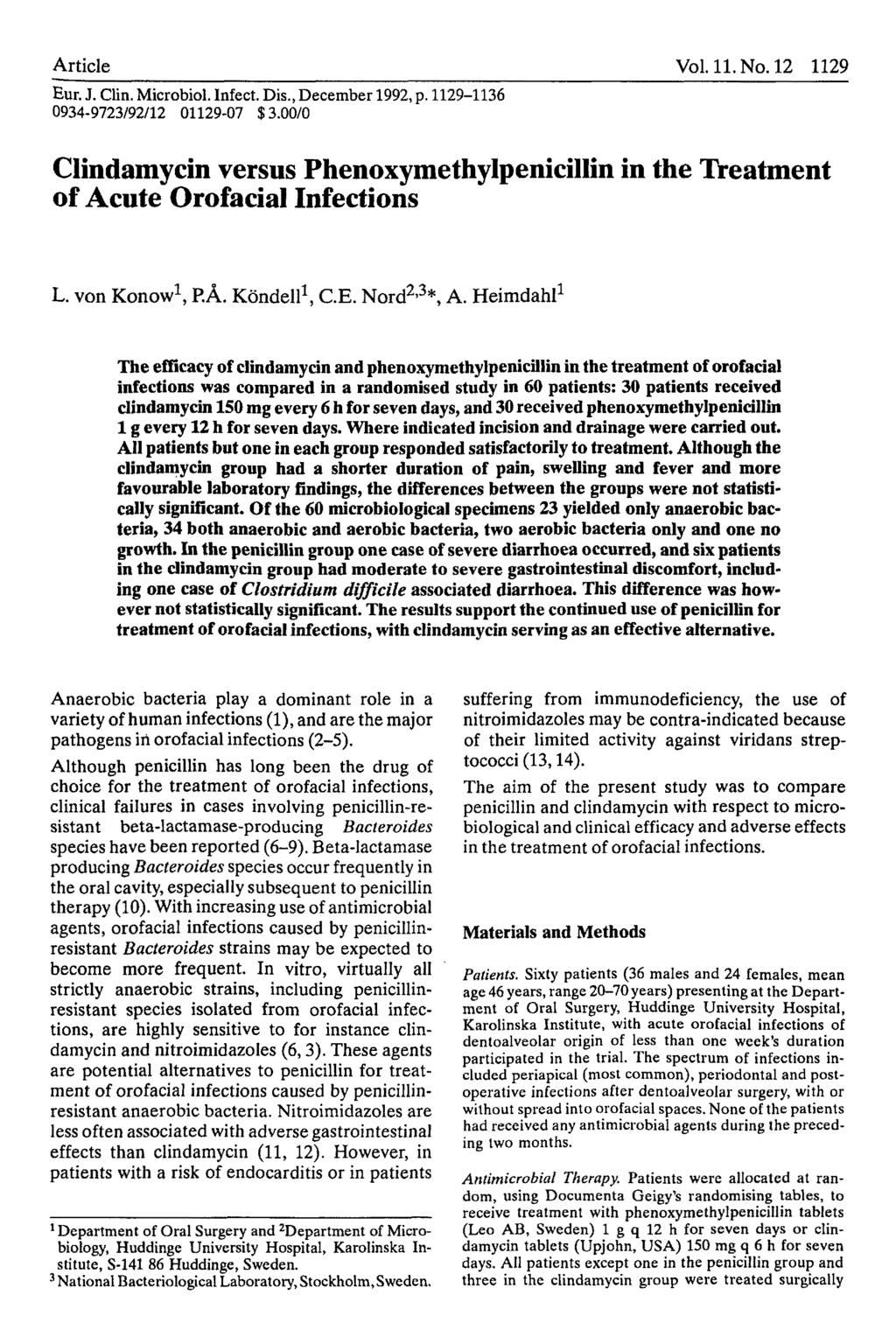 Article Vol. 11. No. 12 1129 Eur. J. Clin, Microbiol. Infect. Dis., December 1992, p. 1129-1136 0934-9723/92/12 01129-07 $3.