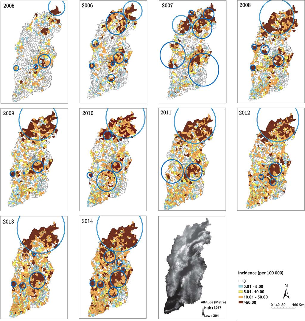 Chen et al. BMC Infectious Diseases (2016) 16:760 Page 8 of 10 Fig. 6 Annual distribution and clusters of reported cases of human brucellosis in Shanxi Province, based on town polygons (2005 2014).
