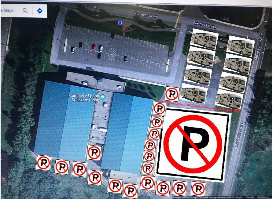 PARKING AND CAMPING DIRECTIONS COMPLEXE SPORTIF ST-LAZARE 1850 RUE DES LOISIRS ST-LAZARE J7T 3B4 Highway 20 from the East (Montreal) Stay on the 20 to Exit 22 Coming off exit turn left (north) on