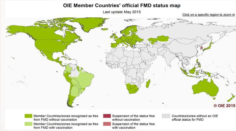 FMD in the world Source: OIE