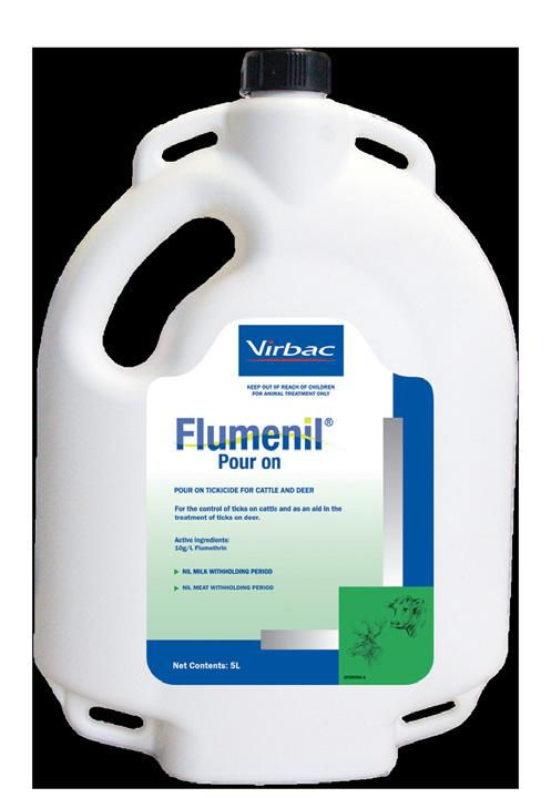 Flumenil Pour On Scientifically formulated to kill ticks at every stage of the lifecycle larvae, nymph and adult in deer, dairy and beef cattle.