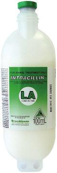 Intracillin LA Intracillin L.A. A sterile, aqueous suspension of 150,000i.u./mL procaine penicillin G and 150,000i.u./mL benzathine penicillin G.