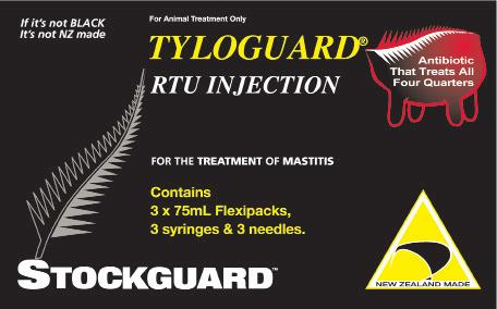 Tyloguard RTU Injection Tyloguard A sterile ready to use injectable solution containing 200mg/mL tylosin base. Manufactured in New Zealand. Available in 75mL and 200mL pillow packs.