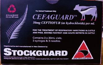 Cefaguard TM RTU Injection A sterile suspension containing 50mg/mL Ceftiofur, as the hydrochloride. Available in packs containing 4 ready to use 30mL vials, 4 syringes and 4 needles.