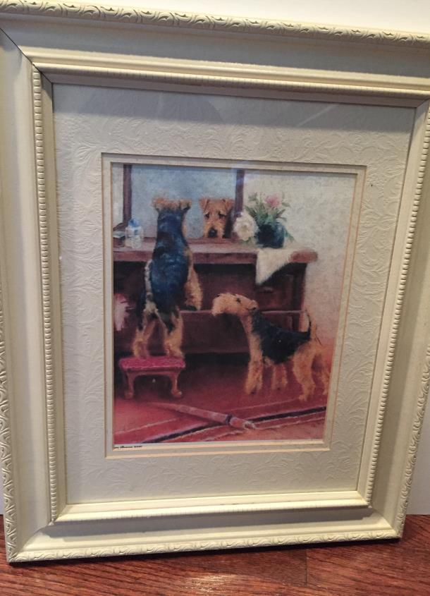 #9. MARY BEACON DOG LOOKING IN MIRROR Opening bid: $40 This gorgeously framed and matted Mary
