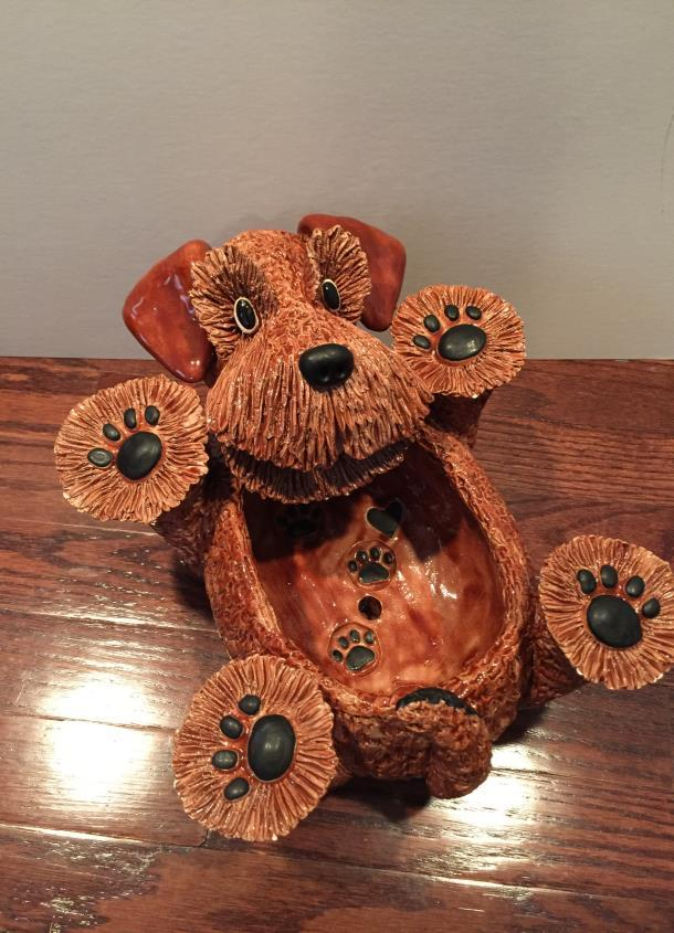 #2. PENCE PETS WELSH TERRIER GLAZED CLAY PLANTER -- SIGNED Opening bid: $50 This is
