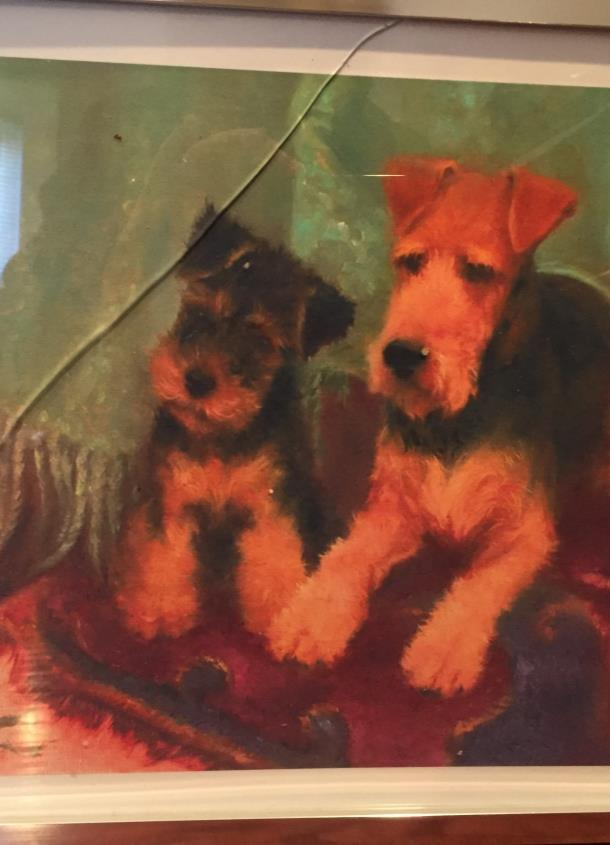 #3. MARY BEACON PRINT OF MISCHIEF & MAYHEM Opening bid: $40 From her studio in Virginia, many have come to know artist, Mary Beacon, as a respected and collected canine artist, most