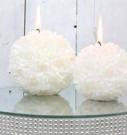 Flower ball candle 32137 White d.