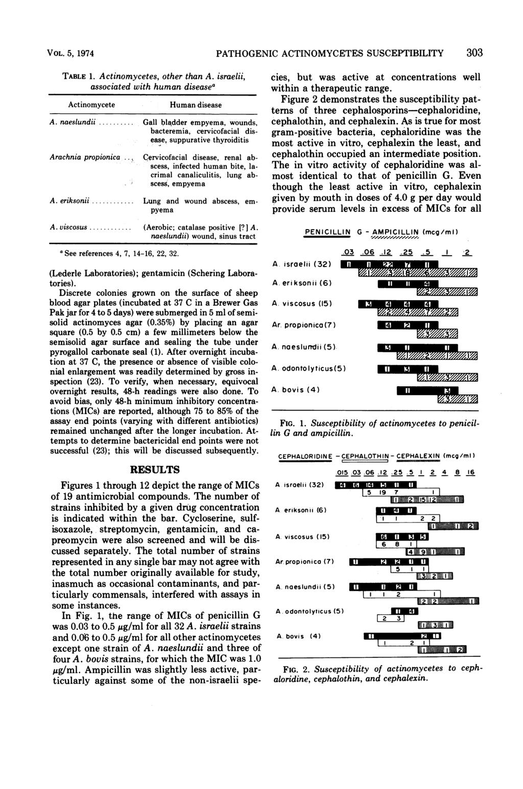 "VOL. 5, 1974 PATHOGENIC ACTINOMYCETES SUSCEPTIBILITY 303 TABLE 1. Actinomycetes, other than A. israelii, associated with human disease"" Actinomycete Human disease A. naeslundii."