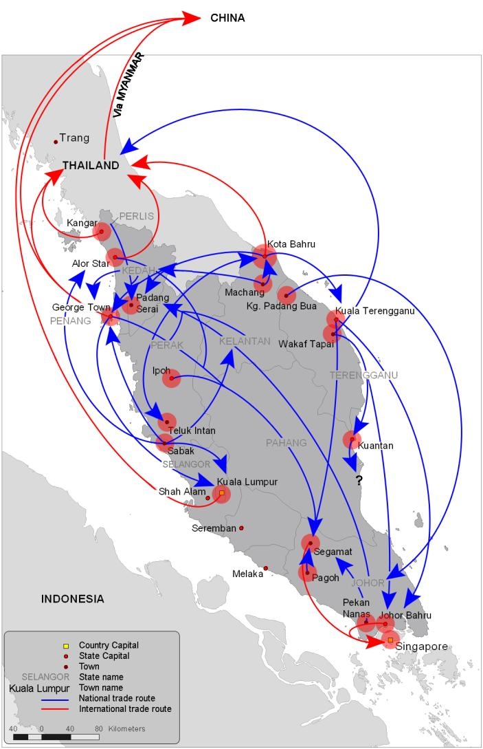 Export Routes Three main export routes: Thailand to China (land),