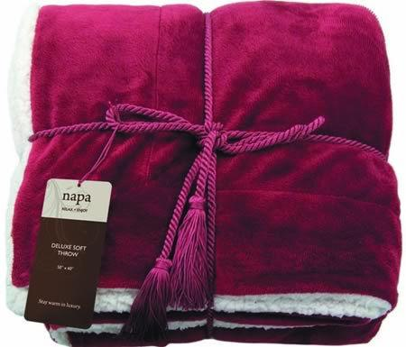 K8000 Luxurious Lambswool microsherpa throw Item#: K8000 Description 100% polyester faux suede, reversible self-hemmed throw, super plush blanket with soft faux lambs wool,