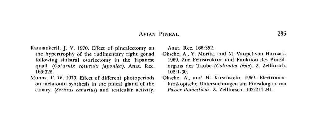 AVIAN PINEAL 235 Kannankeril, J. V. 1970. Effect of pinealectomy on the hypertrophy of the rudimentary right gonad following sinistral oxariectomy in the Japanese quail (Coturnix coluniix japonica).