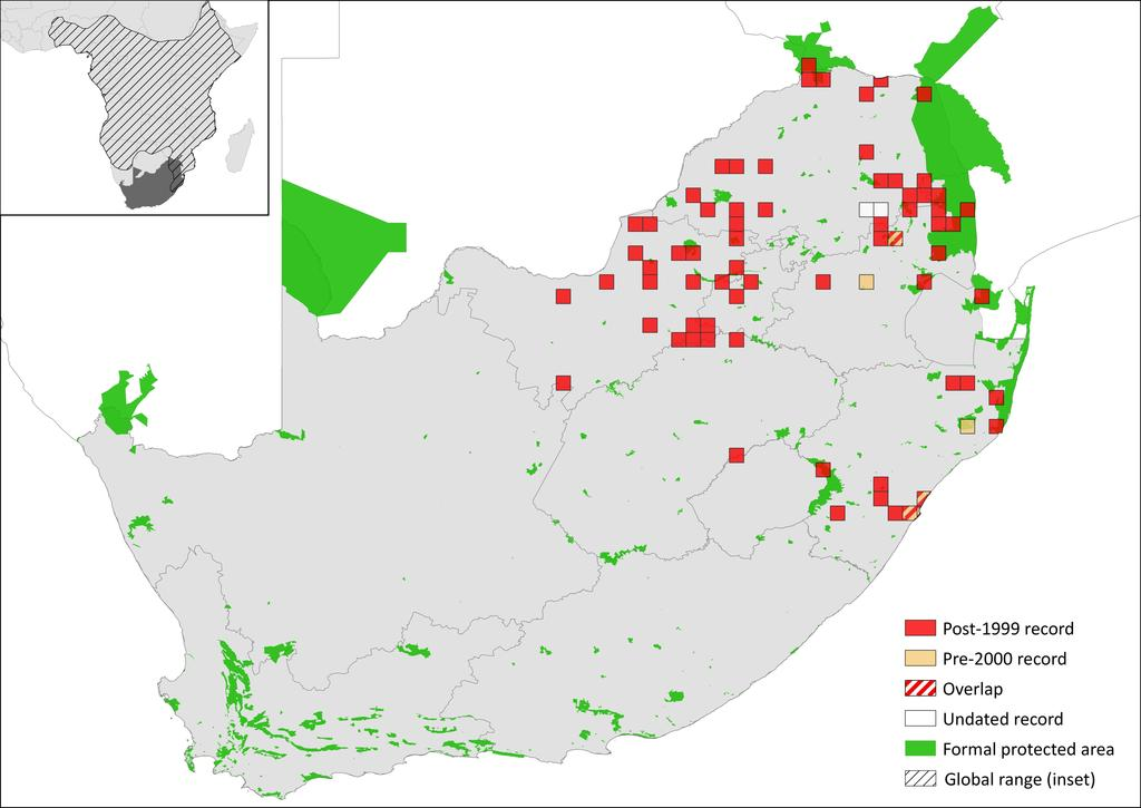 Figure 1. Distribution records for Rusty-spotted Genet (Genetta maculata) within the assessment region Table 1.