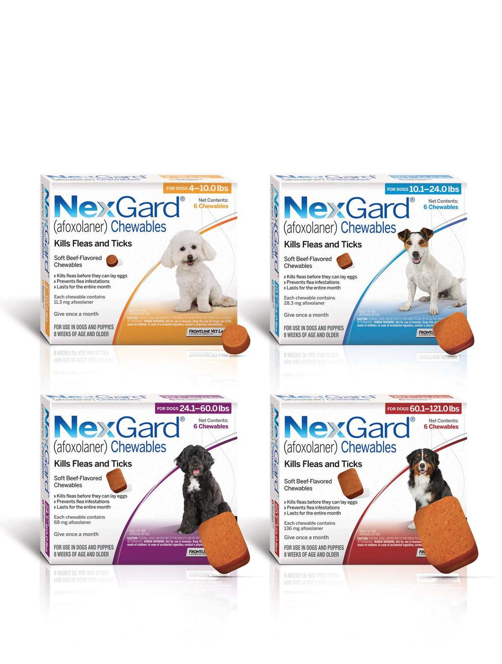 Easy to give, easy to stock. NexGard is available in 4 sizes (both 3 packs and 6 packs): Small Dog: 4-10.0lbs Medium Dog: 10.1-24.