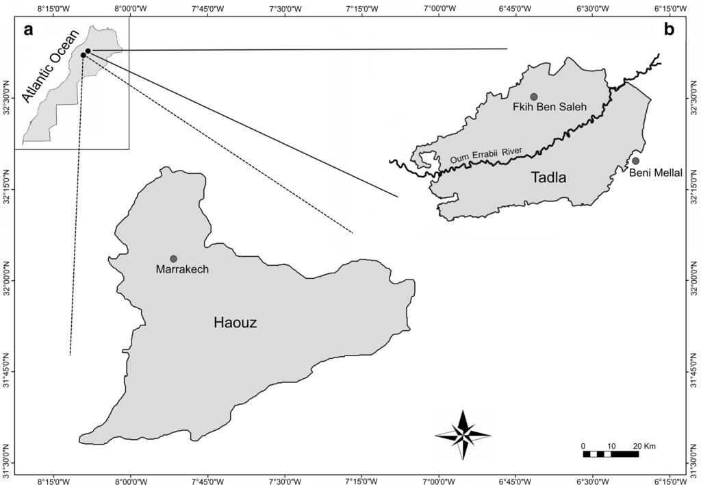 Page 4 of 11 Fig. 1 Map showing the location of the Haouz and Tadla regions in Central Morocco of each variable (McGarigal et al. 2000).