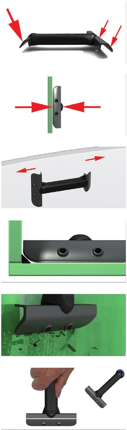 The patented principle, which uses plastic blades with a different length, creates a varying application pressure, enabling the narrow blade to remove even