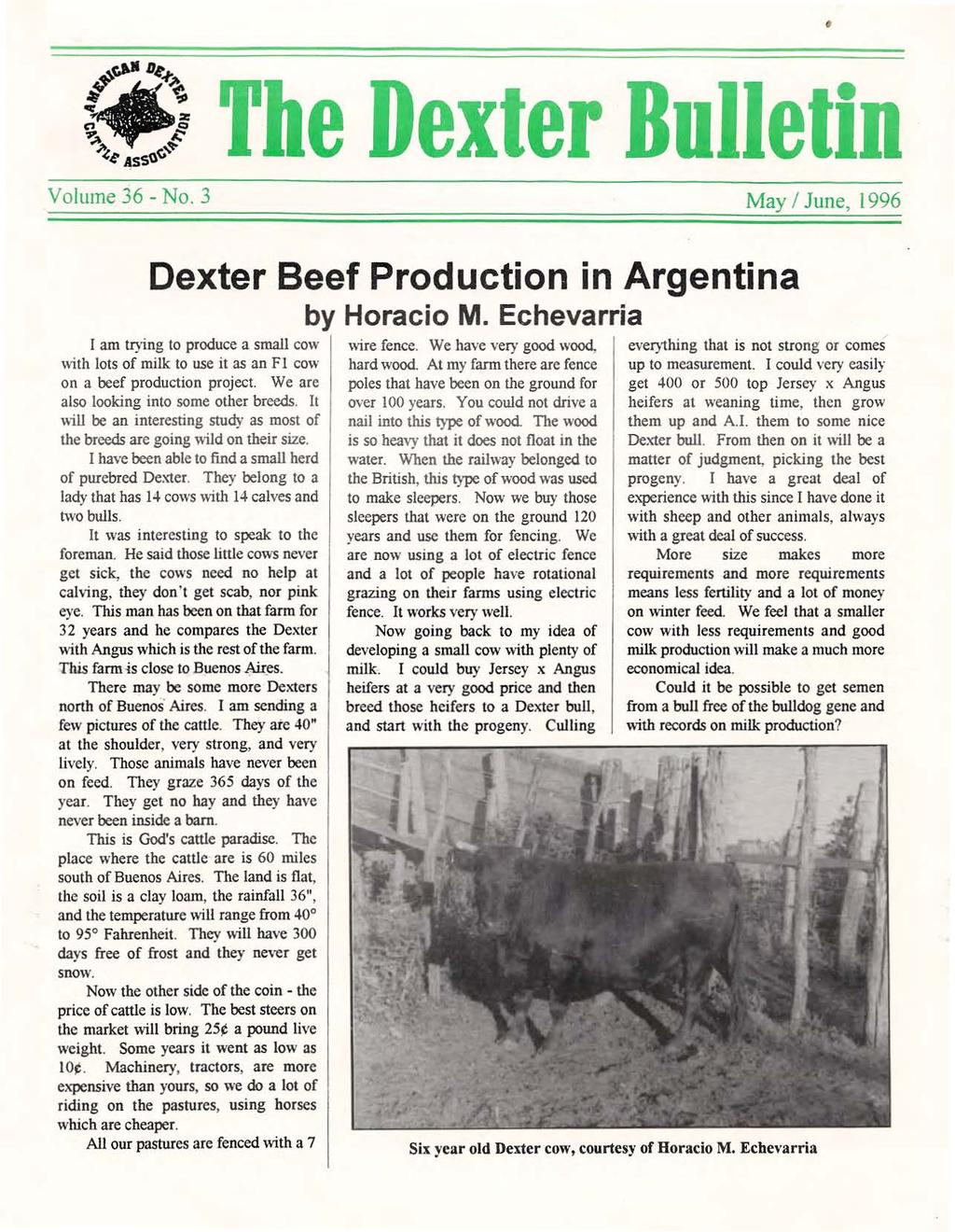 Volume 36 - No. 3 May I June, 1996 Dexter Beef Production in Argentina I am trying to produce a small cow with lots of milk to use it as an F 1 cow on a beef production project.
