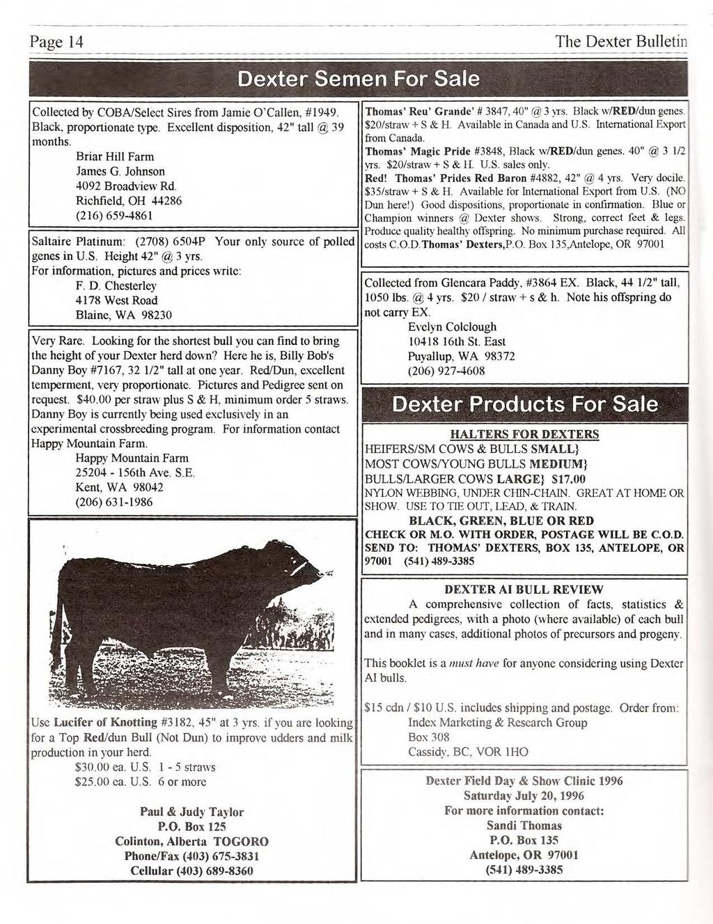 "Page 14 ------ - ------- - --- ---- Dexter Semen For Sale The Dexter Bulletin Collected by COBNSelect Sires from Jamie O 'Callen, #1949. Thomas' Reu' Grande'# 3847, 40"" @ 3 yts. Black wired/dun genes."