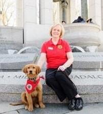 The first six months of a VMF service dog's placement with a veteran are a probationary period, during which time the service dog and the veteran prepare for the public access test, which they take