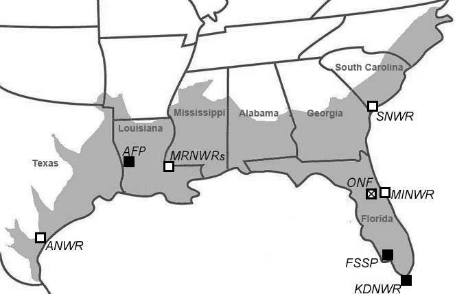 32 3.2.2. Alligator study sites American alligators were studied at four continuous and three fragmented sites (see Fig. 3.1 for map of locations, and Table 2.