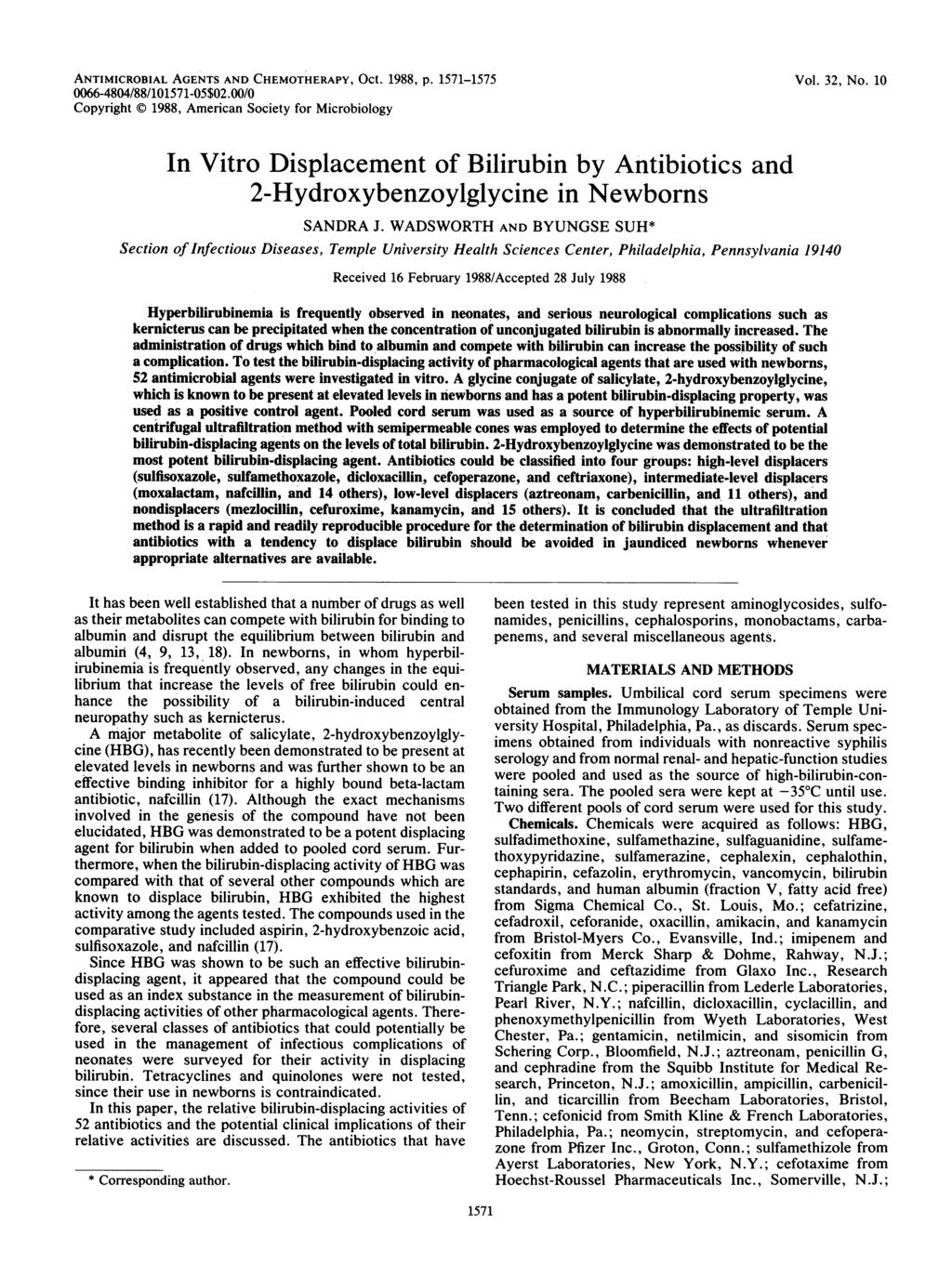 ANTIMICROBIAL AGENTS AND CHEMOTHERAPY, Oct. 1988, p. 1571-1575 66-484/88/11571-5$2./ Copyright 1988, American Society for Microbiology Vol. 32, No.