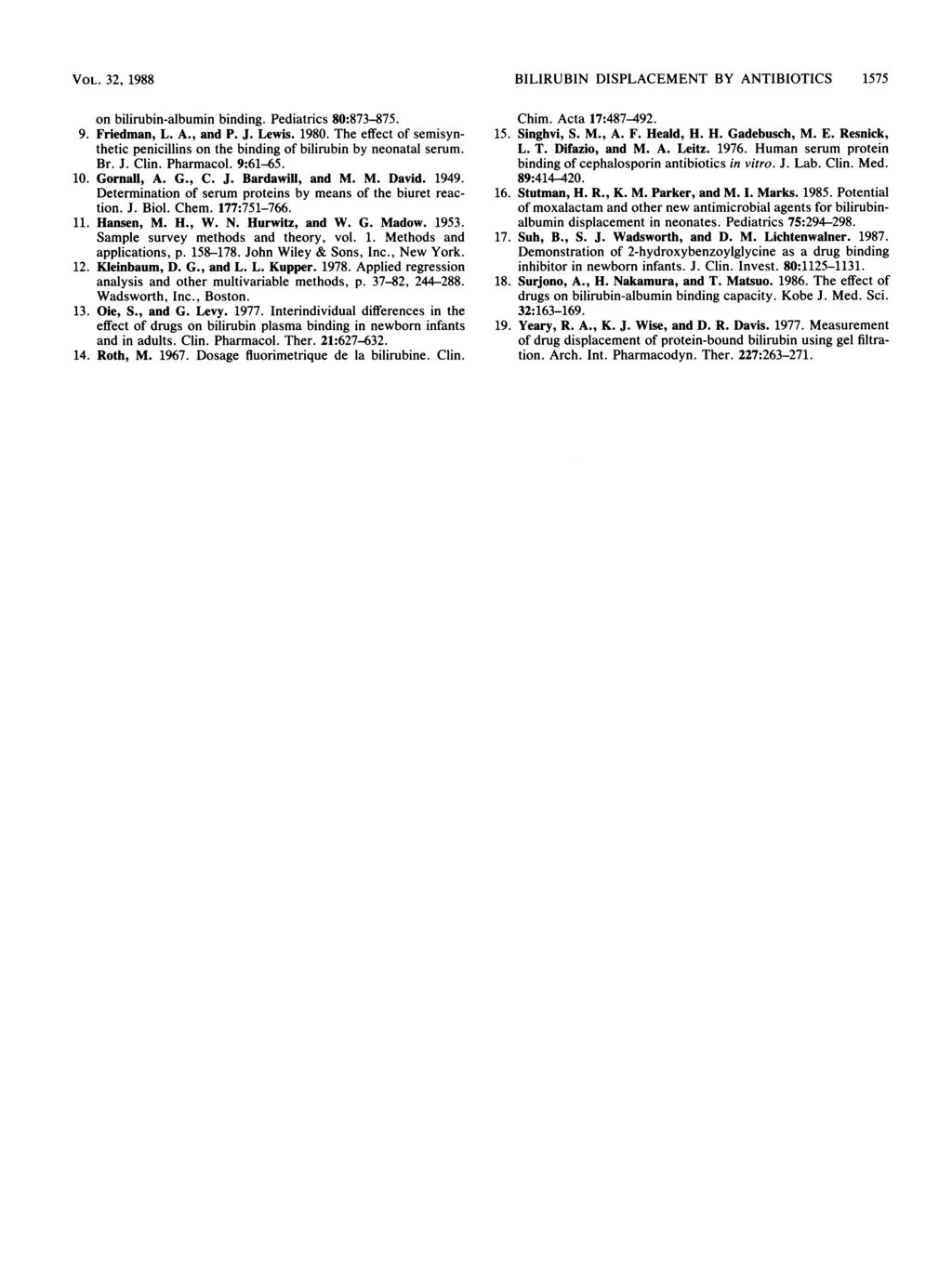 VOL. 32, 1988 on bilirubin-albumin binding. Pediatrics 8:873-875. 9. Friedman, L. A., and P. J. Lewis. 198. The effect of semisynthetic penicillins on the binding of bilirubin by neonatal serum. Br.