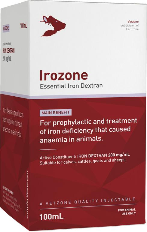 Essential Iron Dextran Packing: 100mL Code: VZI015 Irozone Iron dextran is essential to produce adequate levels of haemoglobin to prevent anemia that causes weakness in animals.