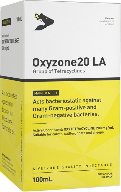 Group of Tetracyclines Packing: 100mL Code: VZI005 Oxyzone20 LA Oxytetracycline belongs to the group of tetracyclines and acts bacteriostatic against many Gram+ve and Gram-ve bacterias.