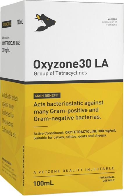 Group of Tetracyclines Packing: 100mL Code: VZI006 Oxyzone30 LA Oxytetracycline belongs to the group of tetracyclines and acts bacteriostatic against many Gram+ve and Gram-ve bacterias.