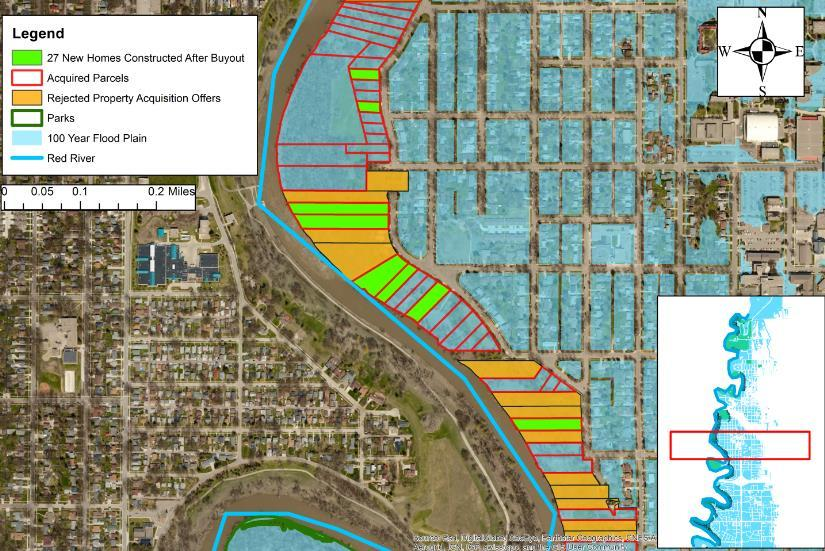 Parcels highlighted in orange indicate where property owners rejected an offer to participate in the buyout, while those marked in green indicate where new homes were constructed, 27 in all, in the