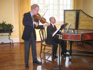 the violin while Tom Gerber plays the harpsichord. What a beautiful instrument the harpsichord is!