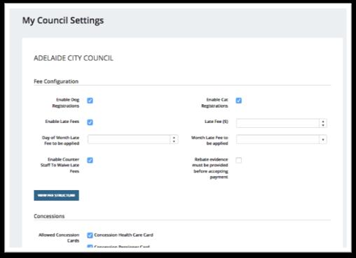 Councils can also configure information about their